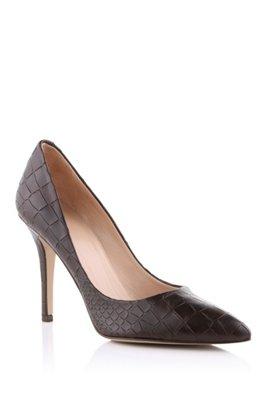 Embossed crocodile pattern court shoe 'Claudy', Dark Brown