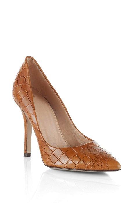 Embossed crocodile pattern court shoe 'Claudy', Brown