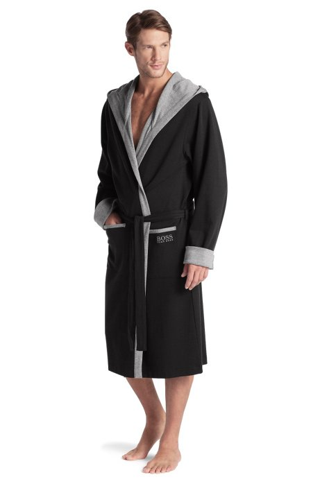 Dressing gown with a hood 'Hooded Robe BM', Black