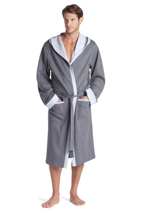 Dressing gown with a hood 'Hooded Robe BM', Open Grey