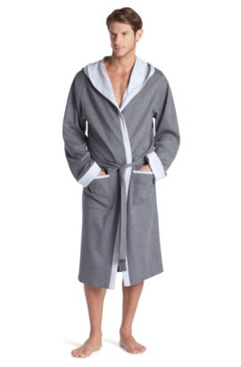 Ochtendjas ´Hooded Robe BM` met capuchon, Lichtgrijs