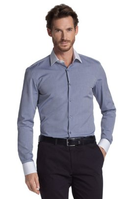 Business shirt with Kent collar 'Jonne', Silver