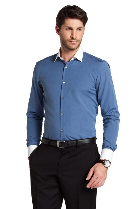 Business shirt with Kent collar 'Jonne', Open Blue