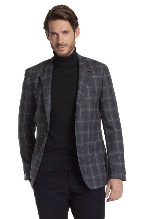 Check jacket 'Rhett', Open Grey