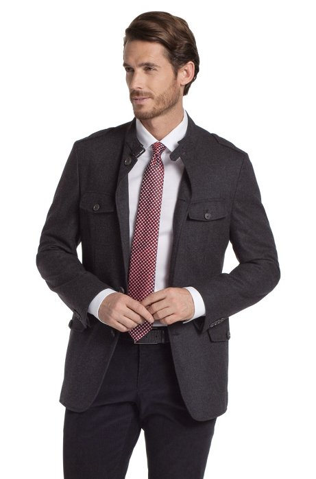Blended new wool  jacket 'Harper1', Grey
