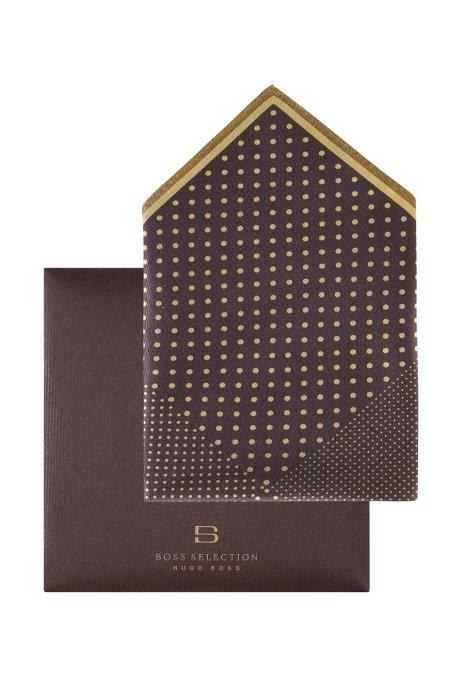 Polka dot pocket square 'Pocket Square 33x33', Dark Brown
