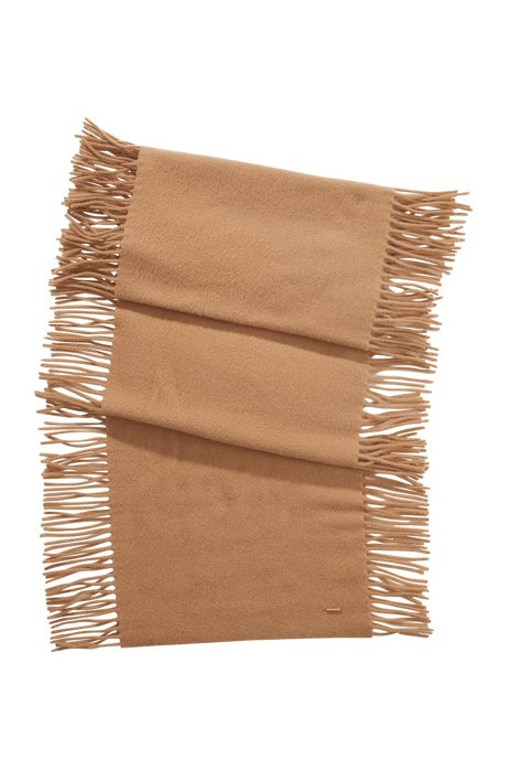 New wool-cashmere blend scarf 'SC479', Light Brown