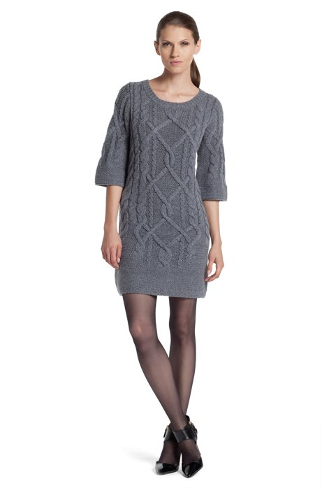 Knit dress with plaited cable pattern 'Santanea', Grey