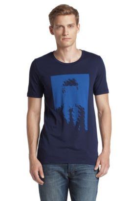 T-shirt à encolure ronde, Dames, Bleu foncé
