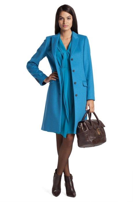 New wool/cashmere blend short coat 'Cavani', Open Blue