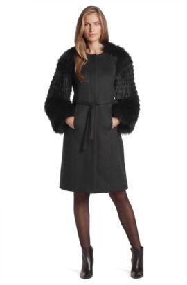 Manteau à manches en fourrure, Cesna, Noir