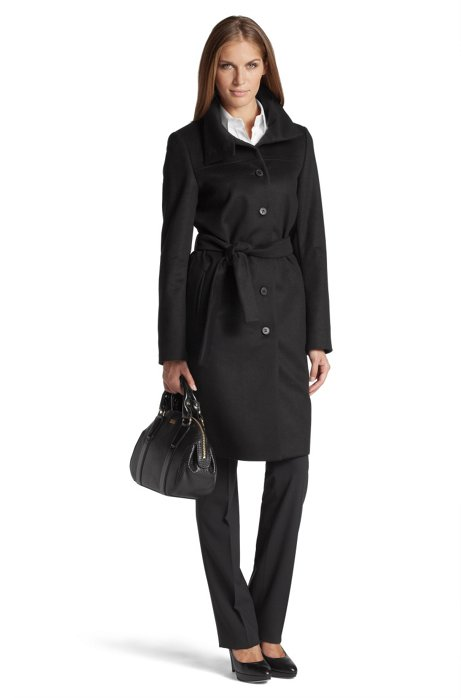 Coat with a deep, stand-up collar 'Clamin', Black