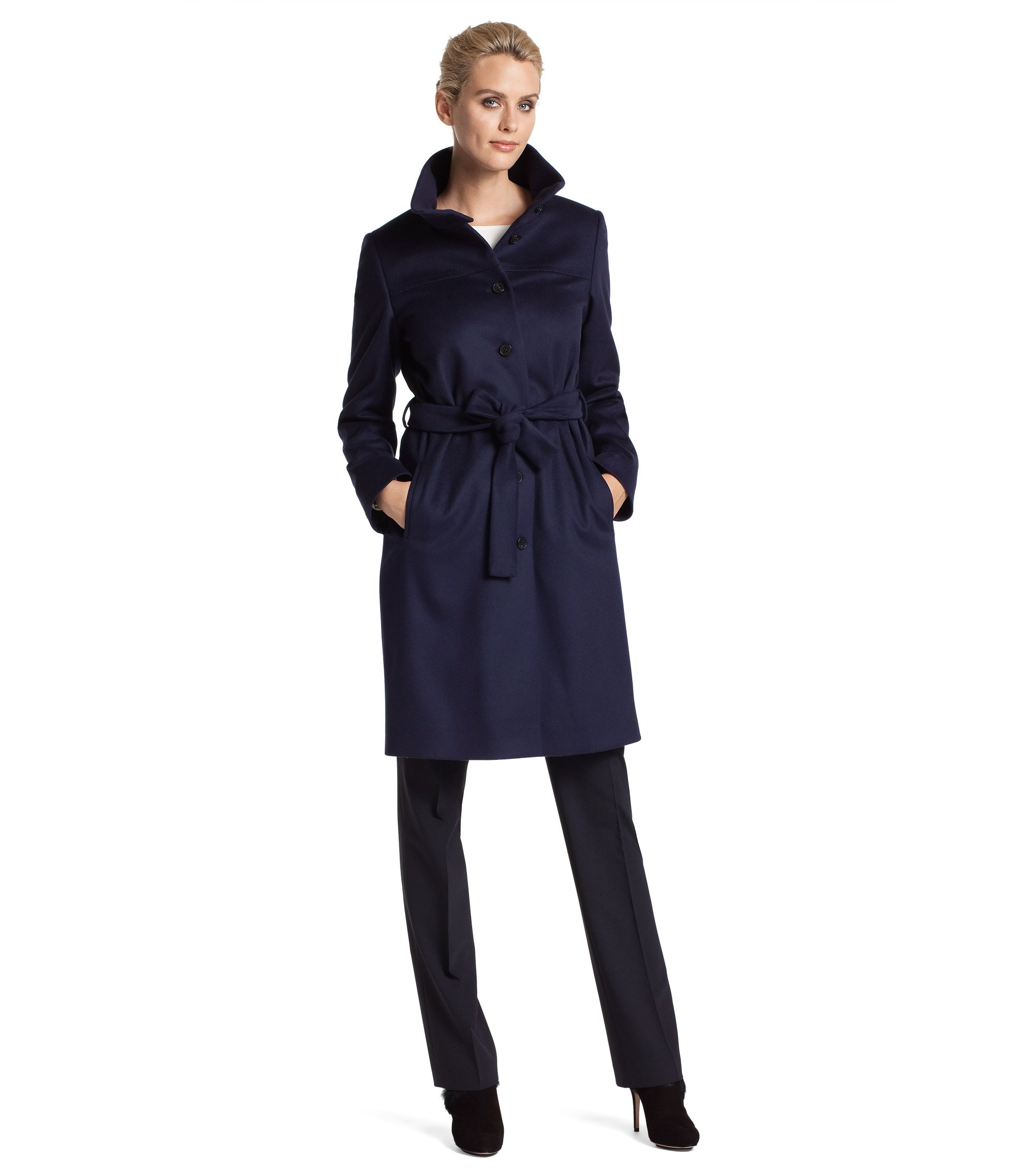 Coat with a deep, stand-up collar 'Clamin', Open Blue