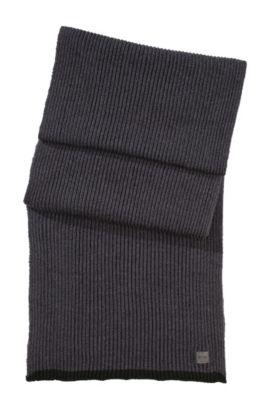 Gebreide sjaal 'Wotano' van zuivere wol, Lichtgrijs