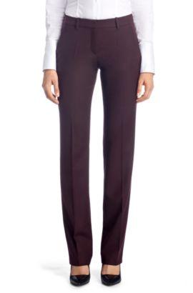 Regular fit broek ´Hinass-5` met strijkvouwen, Donkerpaars