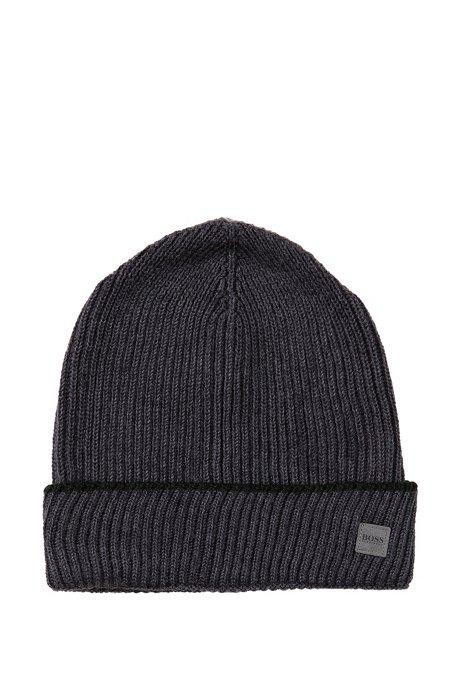Knit wool beanie 'Wotana', Open Grey
