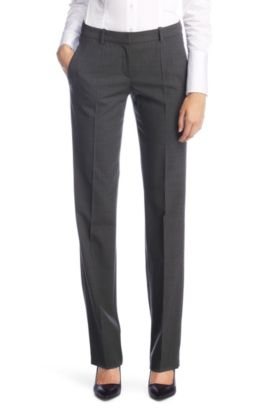 New wool trousers with elastane 'Hinass-5', Dark Grey