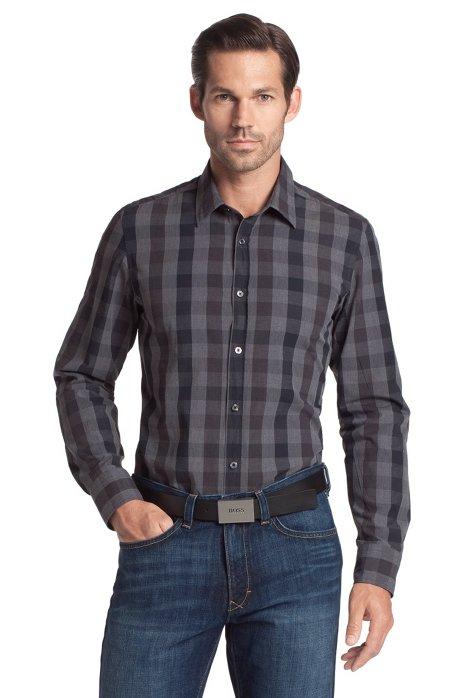 Casual shirt with a Kent collar 'Lucas', Black