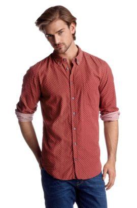 Chemise détente à pois en coton, Equator, Rouge clair