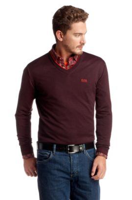 Pullover ´Vim` mit sportlichem V-Ausschnitt, Dunkelrot