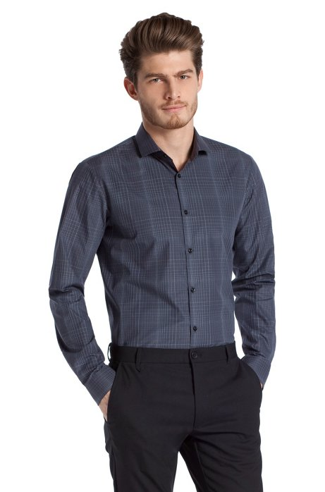 Slim line casual shirt with a shark collar 'Edmo, Anthracite