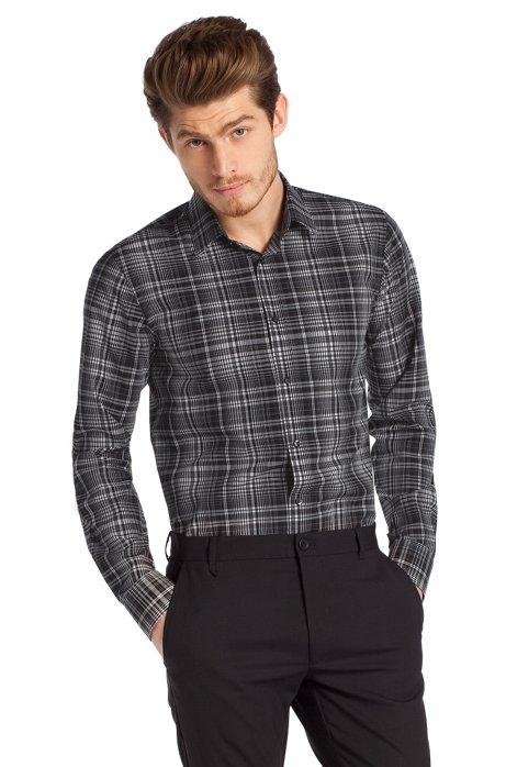 Slim fit casual shirt + a Kent collar 'Elisha', Anthracite