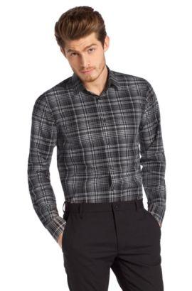 Slim fit overhemd ´Elisha` met kentkraag, Antraciet