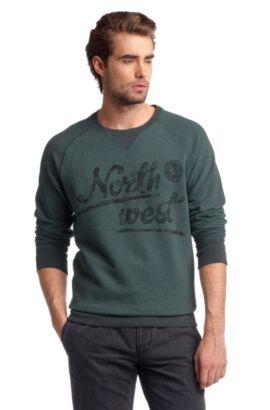 Sweat-shirt à imprimé sur la poitrine, Wic, Vert sombre