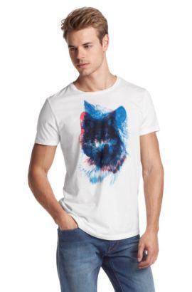 T-Shirt ´Truffle 1` mit Brustprint, Weiß