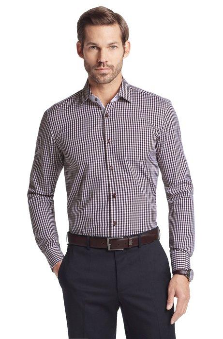 Business shirt with Kent collar 'Juri', Brown