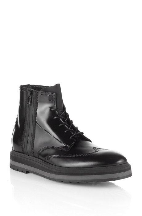 Leather combat boot 'Sursion', Black