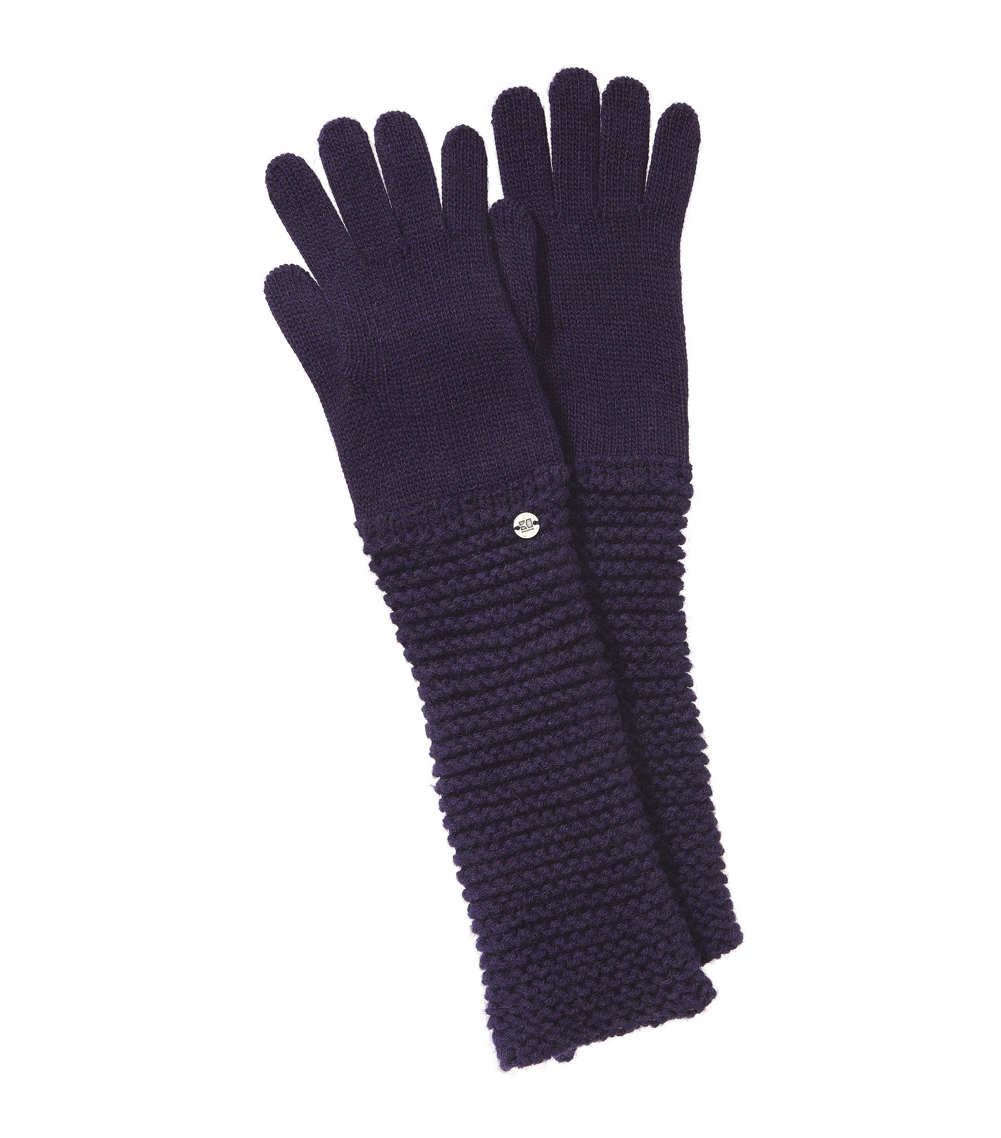 Knitted gloves with a rib knit pattern 'Gasalie', Purple