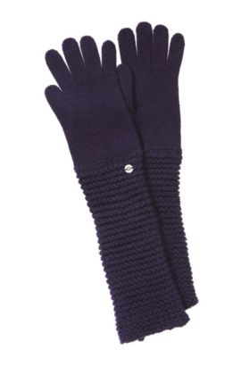Gebreide handschoenen ´Gasalie` met gebreid ribp, Lila