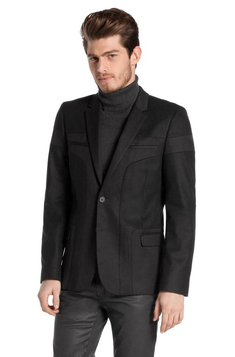 Blended new wool tailored jacket 'Abos', Black