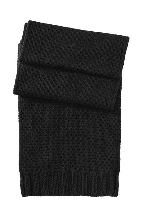 Knitted scarf in pure new wool 'SC488', Black