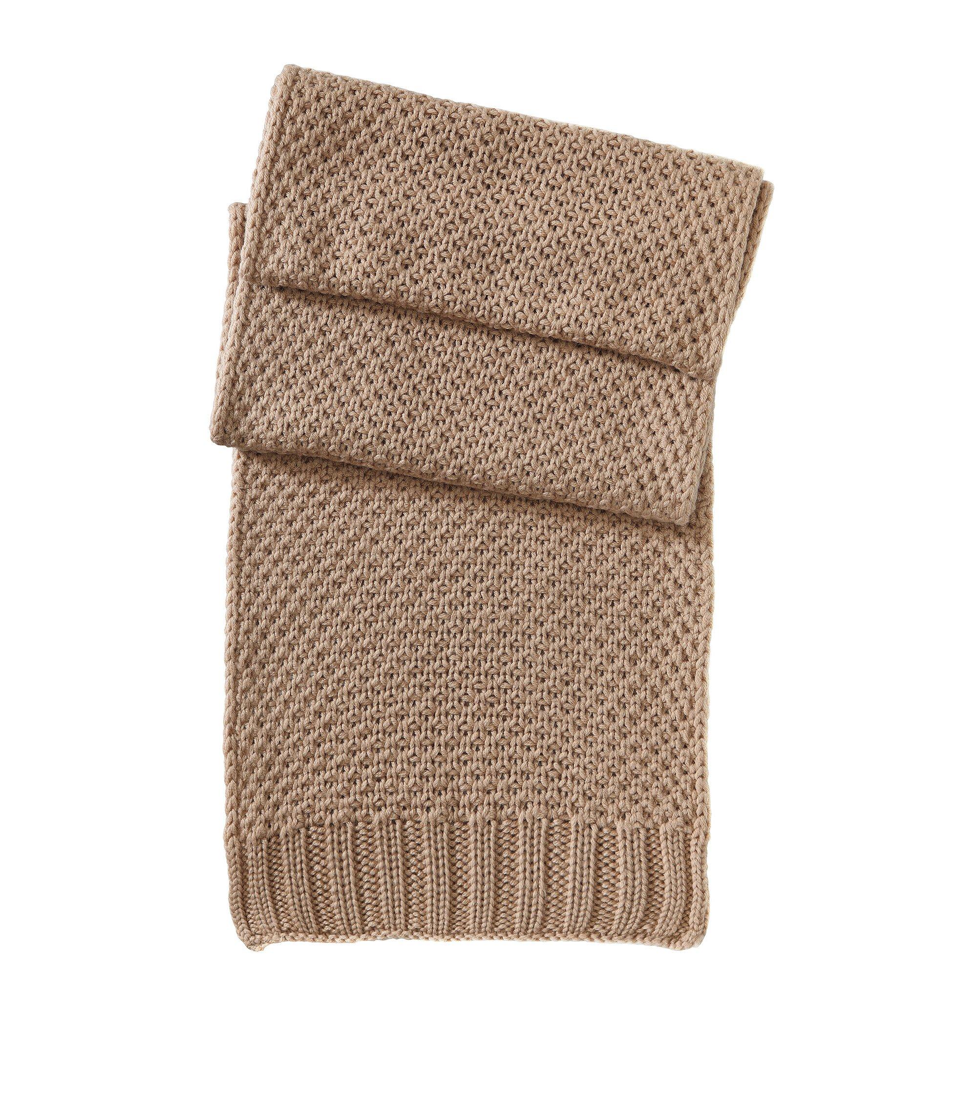 Strickschal ´SC488` aus reiner Schurwolle, Hellbraun
