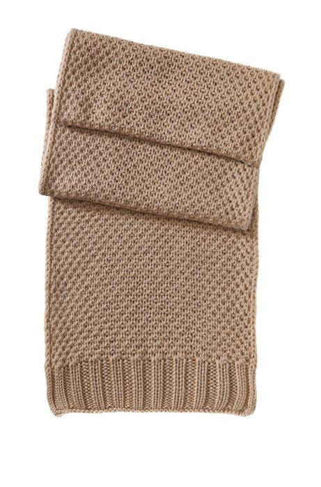 Knitted scarf in pure new wool 'SC488', Light Brown