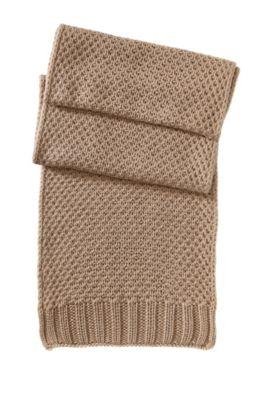 Gebreide sjaal ´SC488` van zuivere scheerwol, Lichtbruin