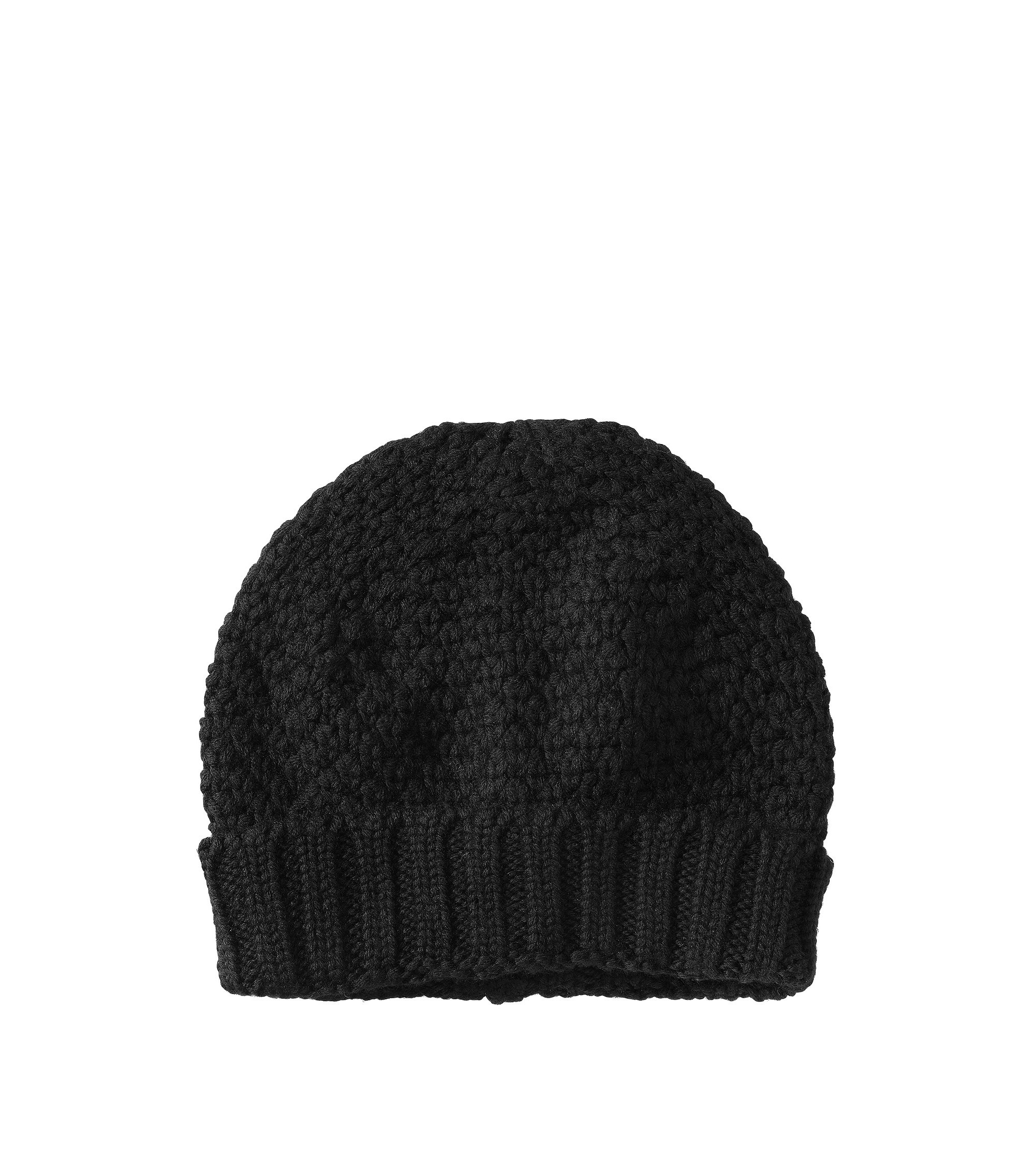 Knitted hat in pure new wool 'HA371', Black