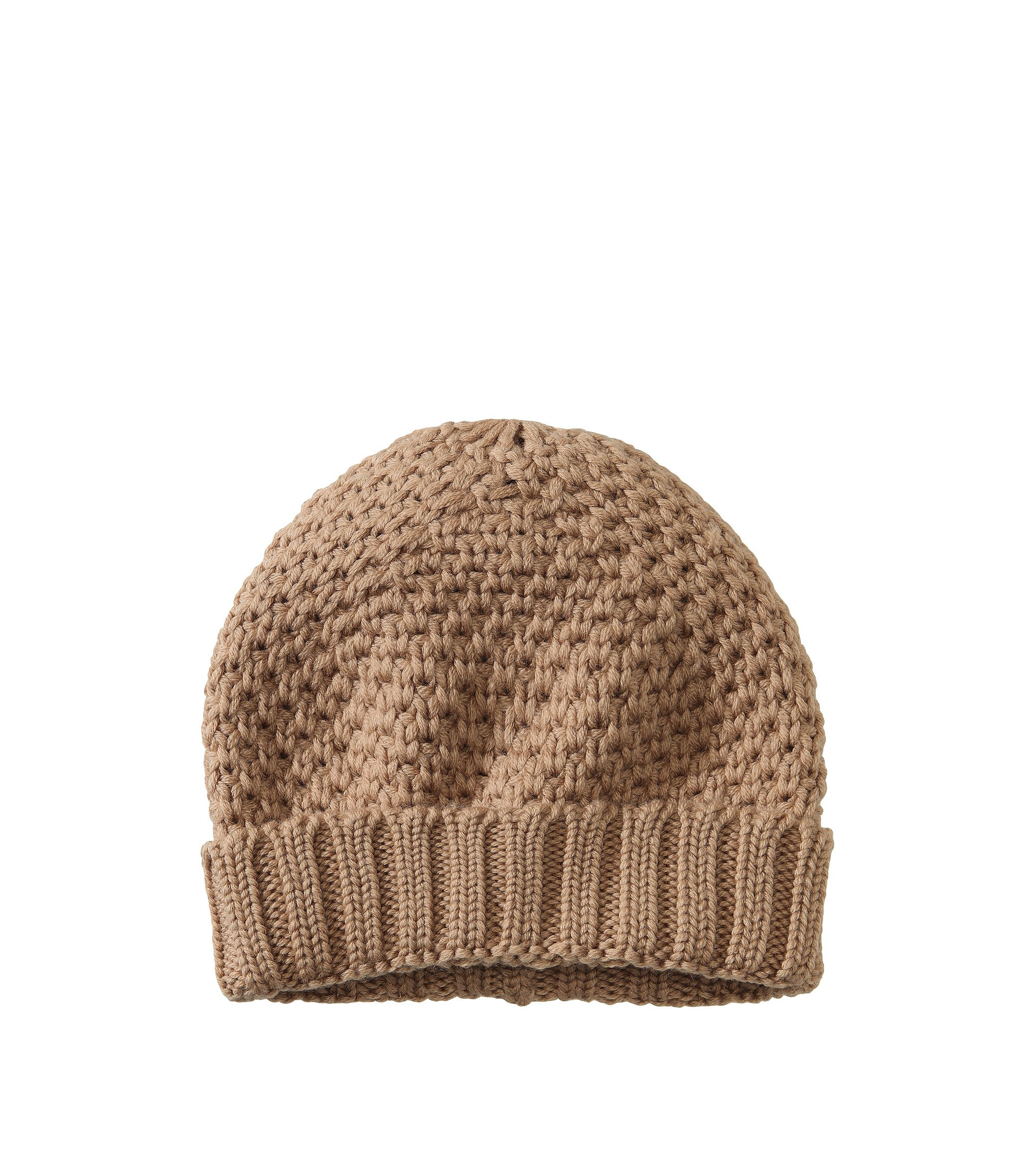 Knitted hat in pure new wool 'HA371', Light Brown
