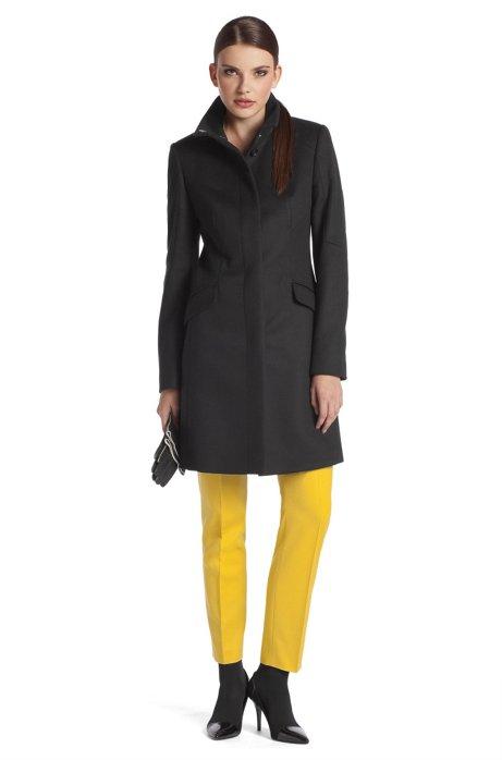 Coat with geometric dividing seams 'Metina', Black