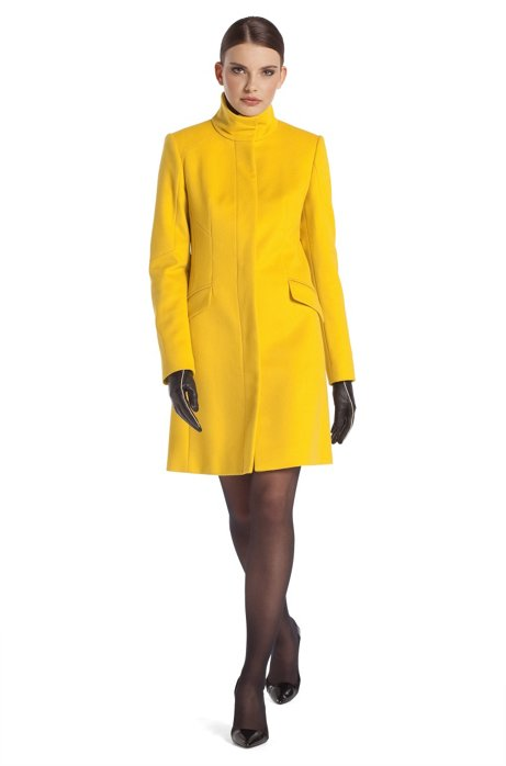 Coat with geometric dividing seams 'Metina', Yellow