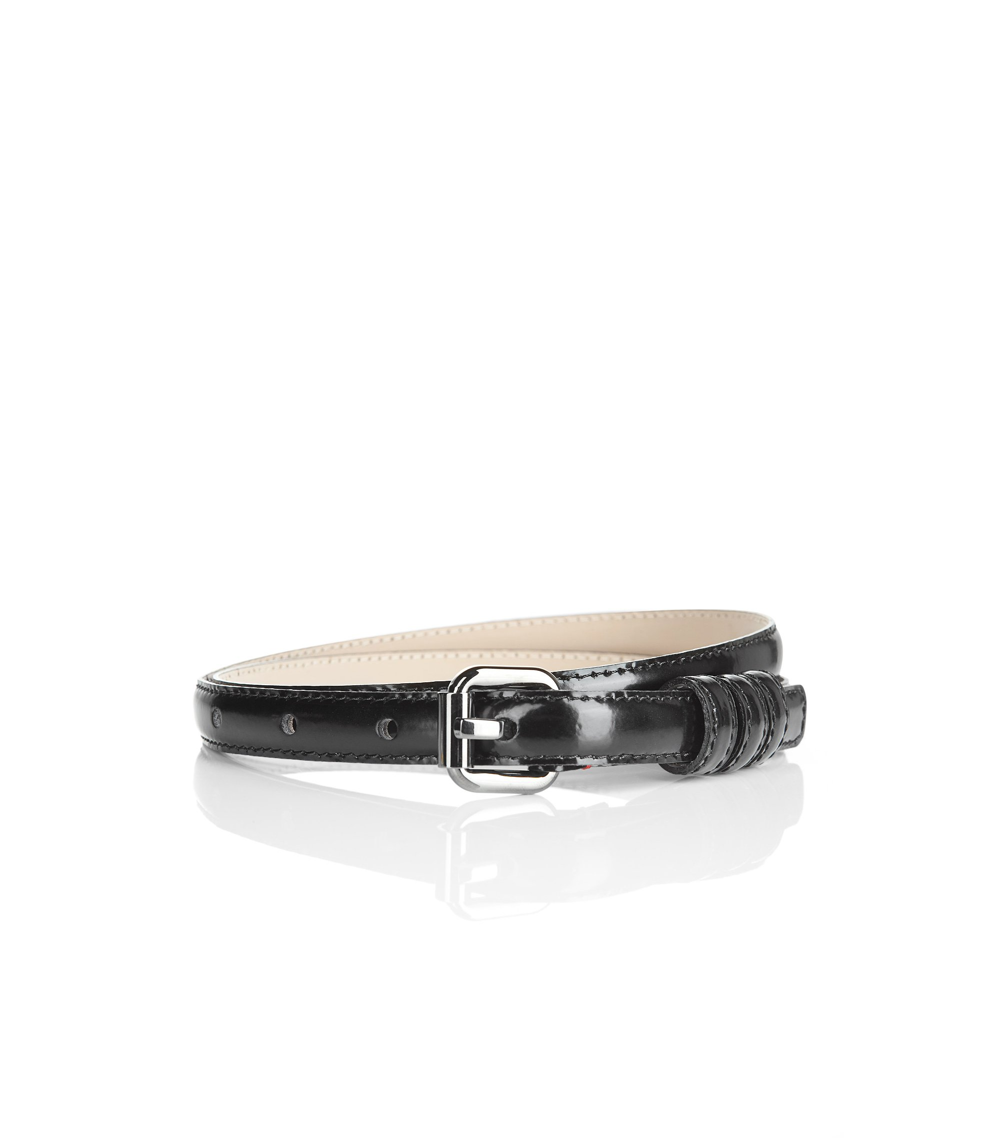 Narrow patent leather belt 'Armidia-A', Black