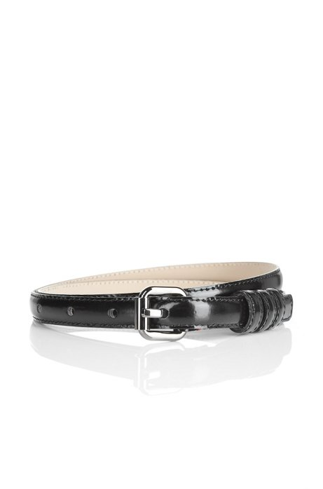 Narrow patent leather belt 'Armidia-A', Black