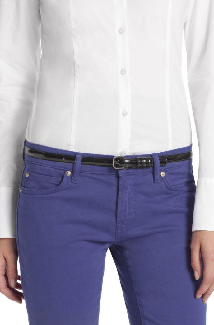 Narrow patent leather belt 'Armidia-A'