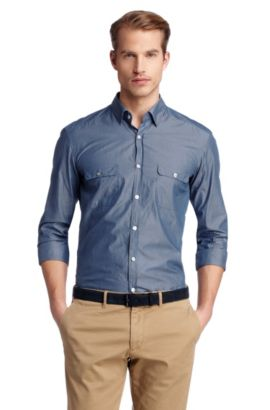 Chemise détente à deux poches à rabat, Li, Bleu foncé