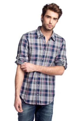 Chemise détente à deux poches-poitrine, CalifoE, Violet foncé