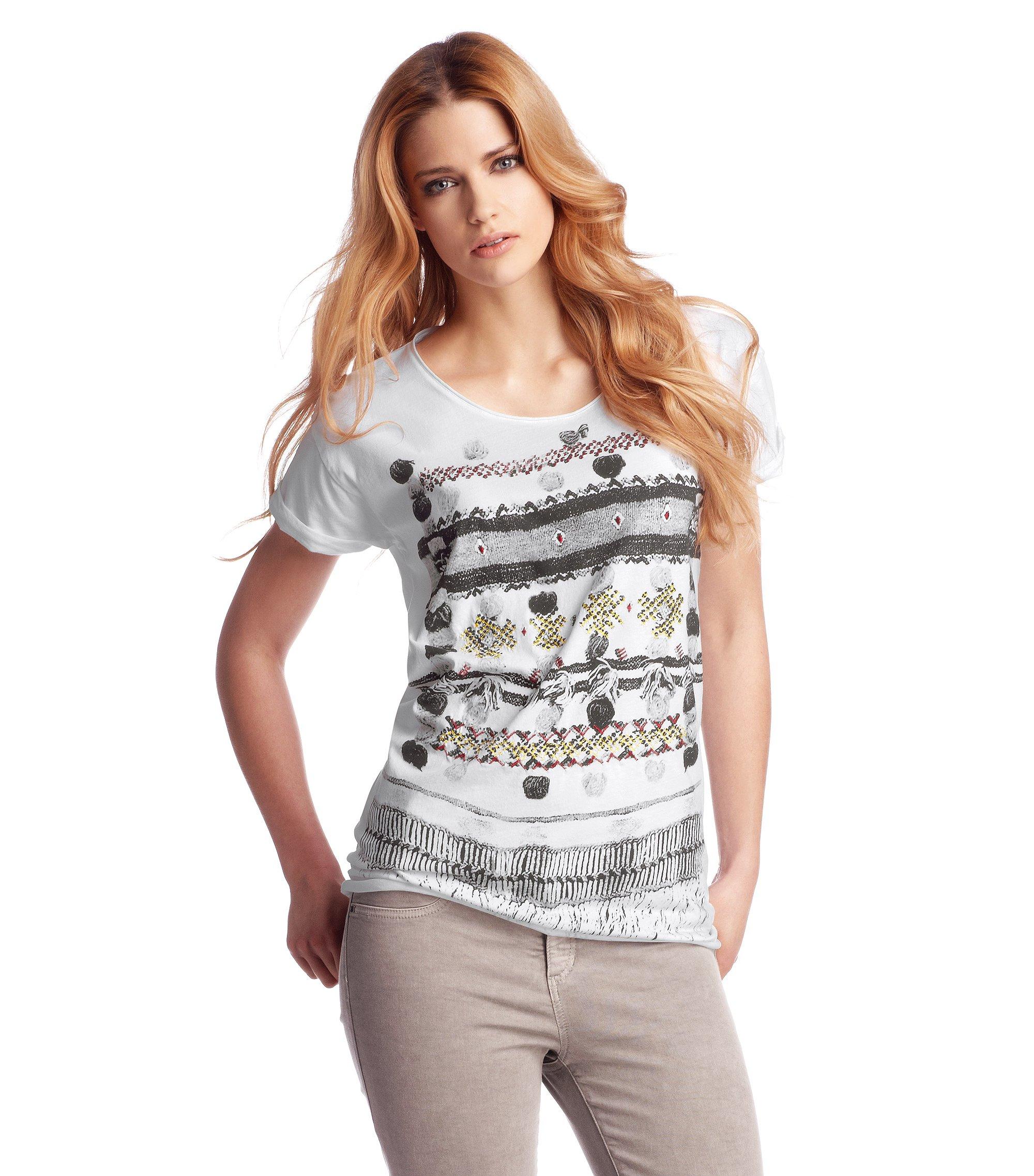 T-Shirt ´Talma` mit geschnittenen Kanten, Weiß