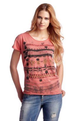 T-shirt ´Talma` met gesneden randen, lichtrood