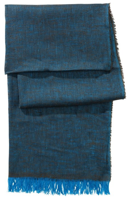 Scarf in blended linen/silk 'Men-Z 384', Turquoise
